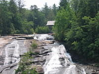 High Falls with a view of the covered bridge